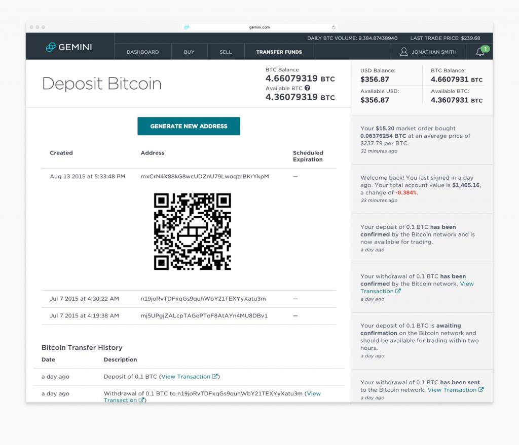 deposit bitcoin - gemini